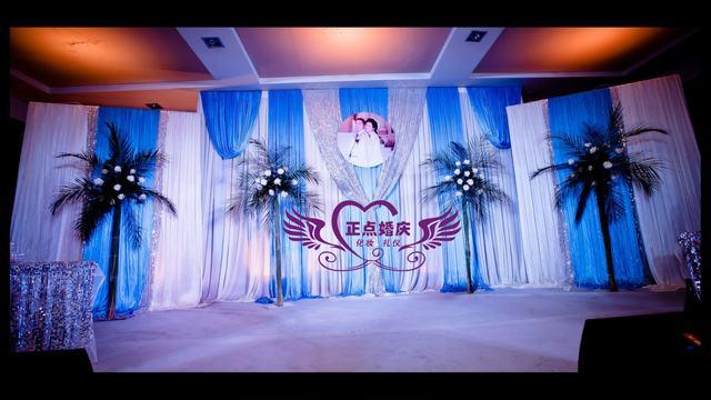 天蓝色欧式婚礼背景